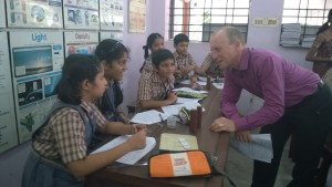 Ian Staton with students of Bhavan's Rajaji School